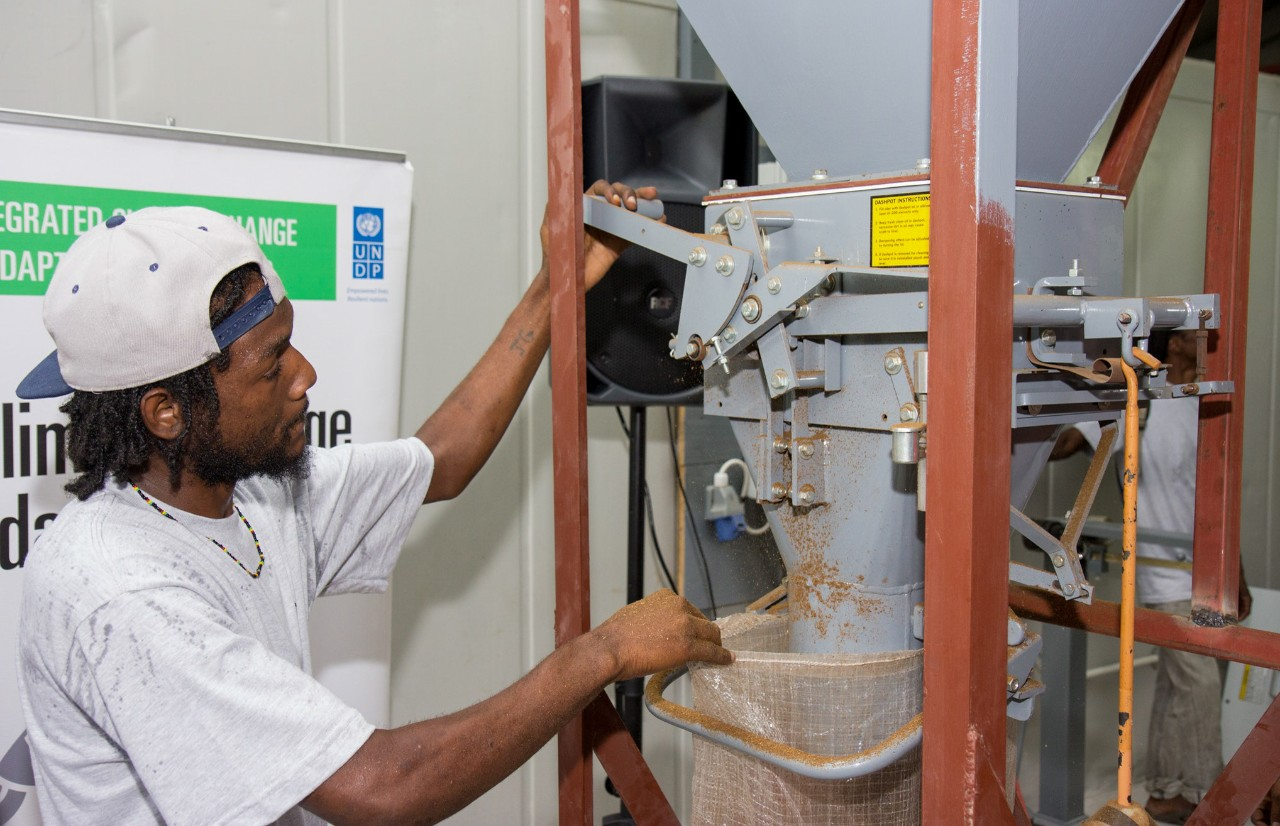 Using waste that would normally end up in a landfill, such as fisheries and breweries refuse, the innovative Protein from Waste initiative in Grenada is creating quality, affordable chicken feed. ©UNDP Grenada
